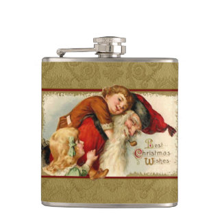 Vintage Smiling Santa with Children Hip Flask
