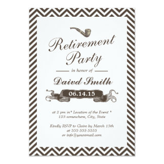 Vintage Smoking Pipe Chevron Retirement Party Card