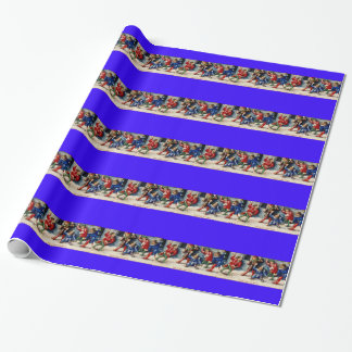 VINTAGE SNOWBALL FIGHT 15TH CENTURY WRAPPING PAPER