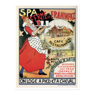 Vintage Spa Belgium Café restaurant ad Postcard