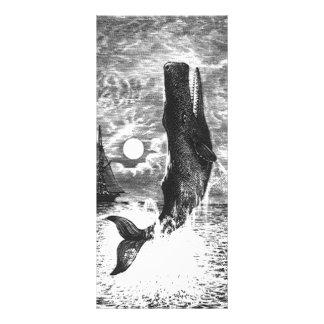 Vintage Sperm Whale Breaching, Marine Life Animals Rack Card Design