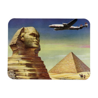 Vintage Sphinx Airplane Desert Pyramids Egypt Giza Magnet