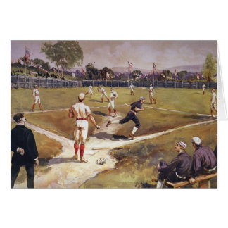 Vintage Sports Baseball Game by Henry Sandham Card
