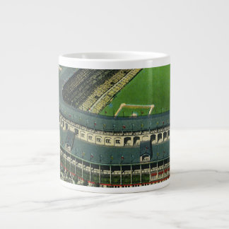 Vintage Sports Baseball Stadium, Aerial View Large Coffee Mug