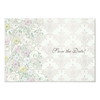 Vintage Spring Off White and Pastel Save the Date Card