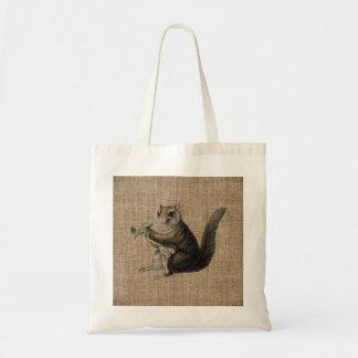 Vintage Squirrel on Burlap Bag