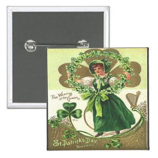 Vintage St Patricks Day 2 15 Cm Square Badge