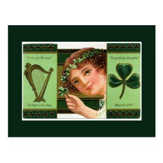 Vintage St Patrick's Day Harp Lady Shamrock Postcard