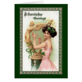 Vintage St. Patrick's Day Lady and Harp Greeting Card