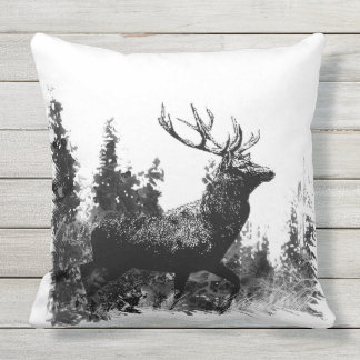 Vintage Stag Deer Animal Nature Art Outdoor Cushion