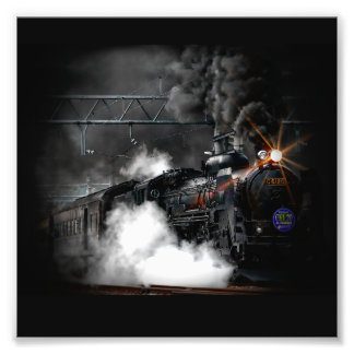 Vintage Steam Engine Black Locomotive Train Photo