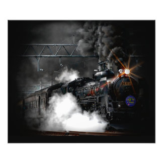 Vintage Steam Engine Black Locomotive Train Photographic Print