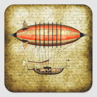 Vintage Steampunk Airship Square Sticker