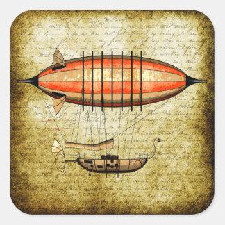 Vintage Steampunk Airship Square Sticker