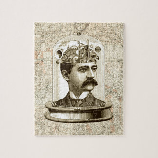 Vintage steampunk clockwork brain, moustache  man puzzle