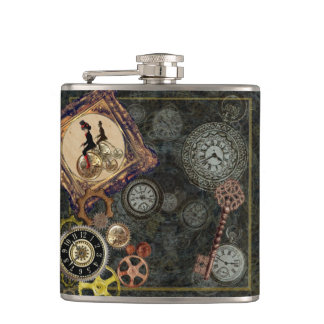Vintage steampunk clockwork mechanical pattern art hip flask