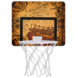 Vintage Steampunk Train Wallpaper Mini Basketball Hoop