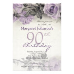 Vintage Sterling Silver Purple Rose 90th Birthday Invites
