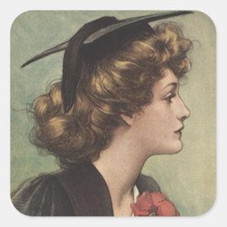 Vintage Sticker Graduation Cap Gown Womans Profile
