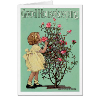"VINTAGE ""STOP & SMELL THE ROSES"" EASTER GIRL CARD"