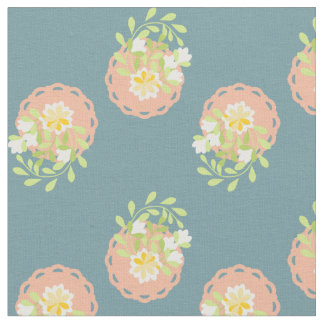 Vintage style flower and polka dot blue fabric