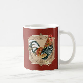 Vintage Style French Country Rustic Barn Rooster Basic White Mug