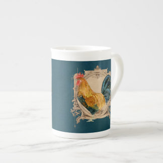 Vintage Style French Country Rustic Barn Rooster Porcelain Mugs