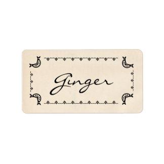 Vintage-Style Ginger Labels