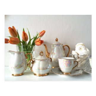 Vintage Style Gold Lustre Afternoon Tea Postcard
