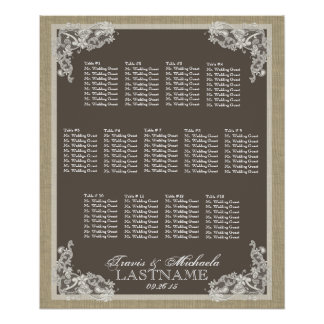 Vintage Style Lace Design Seating Chart Posters