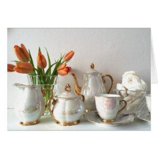 Vintage Style Lustre Afternoon Tea Greeting Card