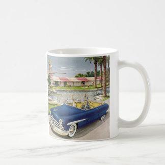 Vintage Summer Vacation, Convertible Car and Motel Coffee Mug