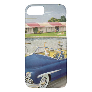 Vintage Summer Vacation, Convertible Car and Motel iPhone 7 Case