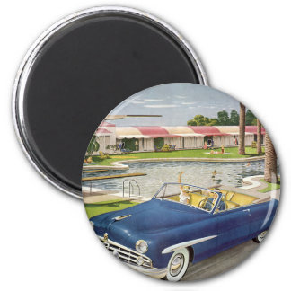 Vintage Summer Vacation, Convertible Car and Motel Magnet