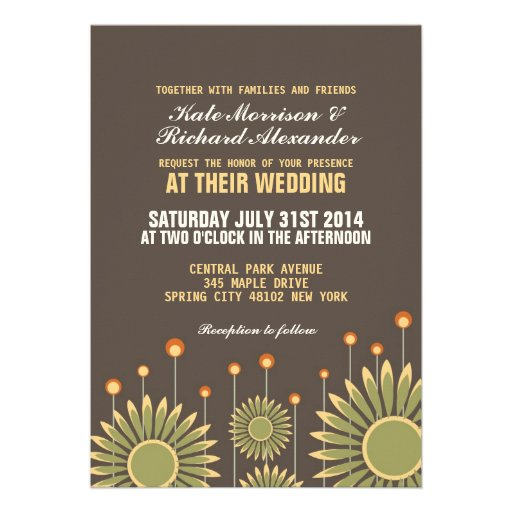 Vintage Sunflower Floral Wedding Invitation