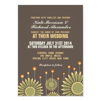 "Vintage Sunflower Floral Wedding Invitation 5"" X 7"" Invitation Card"