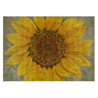 Vintage Sunflower Glass Cutting Board