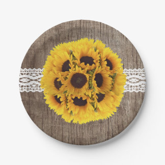 Vintage Sunflowers Laced Barn Wood Rustic Wedding 7 Inch Paper Plate