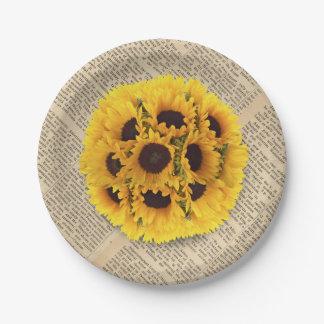 Vintage Sunflowers Old Newspaper Rustic Wedding 7 Inch Paper Plate