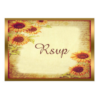 Vintage Sunflowers Rsvp Personalized Invite