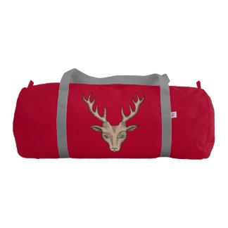 Vintage Surreal Deer Head Antlers Gym Bag
