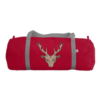 Vintage Surreal Deer Head Antlers Gym Duffel Bag