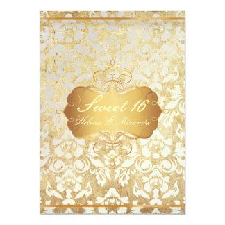 Vintage Sweet 16/ princess/pearl damask 13 Cm X 18 Cm Invitation Card