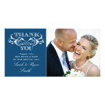 Vintage Swirl Blue Wedding Photo Thank You
