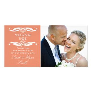 Vintage Swirl Orange Wedding Photo Thank You Card