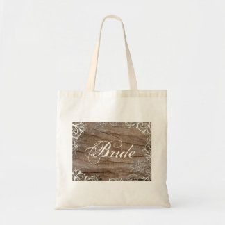 vintage swirls barn wood  lace country bride tote bag