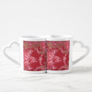 Vintage Swirls Floral Roses Lovers Mug Set