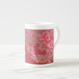Vintage Swirls Floral Roses Bone China Mug