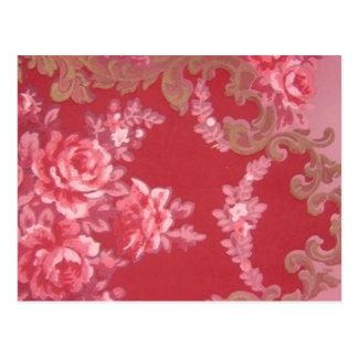 Vintage Swirls Floral Roses Postcard
