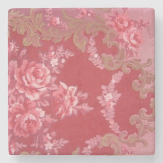 Vintage Swirls Floral Roses Stone Coaster